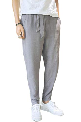 CuteRose Mens Harem Relaxed Lounger Pure Colour Big Tall Tenths Pants Grey M -