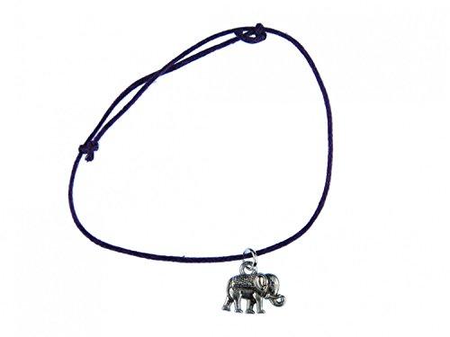 miniblings Pulsera Colgante Elefante Pulsera de la Suerte de Elefante de Plata Ajustable