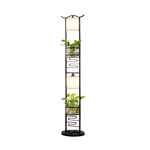 Kreative Einfache Eisen Stehlampe Schlafzimmer Studie Moderne Chinesische Stehlampe Pflanzenständer (Schwarz E27 * 2) 155x27 cm 0702P (Chinesische Stehlampe)