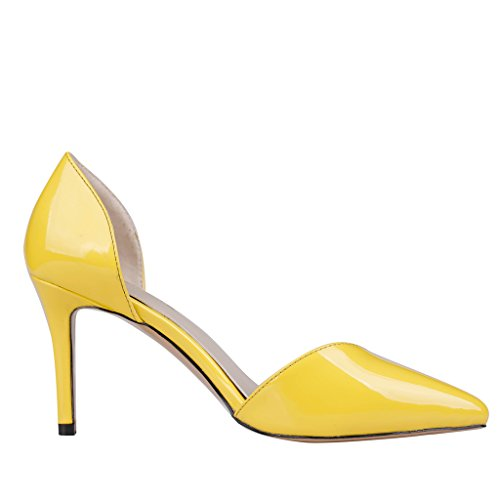EKS Damen Spitze Middle Heels Pumps Gelb-Lackleder