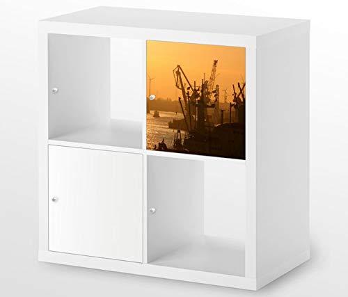 Möbelaufkleber für Ikea KALLAX / 1x Türelement Hamburger Hafen Sonnenaufgang Kat15 Hamburg Skyline Aufkleber Möbelfolie sticker (Ohne Möbel) Folie 25D342