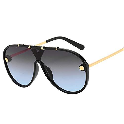 Taiyangcheng Polarisierte Sonnenbrille Übergroße Sonnenbrille Frauen Vintage Markendesigner Flat Top Retro Niet Pilot Sonnenbrille Männer Weibliche Shades,schwarz grau blau