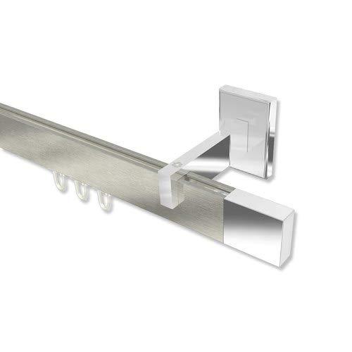 INTERDECO Innenlauf-Gardinenstange/Innenlaufstange eckig Edelstahl Optik/Chrom Smartline Lox, 240 cm