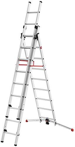 Preisvergleich Produktbild Hailo ProfiLOT, 3-teilige Alu-Kombileiter, 2x9+1x8 Sprossen, LOT-System, Treppenverstellung, Transportsicherung, bis 150 kg, made in Germany, 9309-507