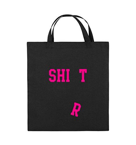 Comedy Bags - SHIRT - FALLENDES R - Jutebeutel - kurze Henkel - 38x42cm - Farbe: Schwarz / Silber Schwarz / Pink