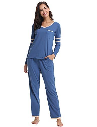 Hawiton Damen Schlafanzug Hausanzug Langer Pyjama Nachtwäsche Set Baumwolle Lang V Ausschnitt Blau S