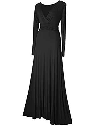 LONG SLEEVED MAXI EVENING FORMAL PARTY DRESS SIZES 8 - 20 BLACK GREEN OR TEAL (8, BLACK)