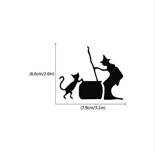 Liushop Katze Mit Hexe Silhouette Vinyl Schalter Aufkleber Kreative Halloween Dekoration Wandtattoo, 4 Stücke