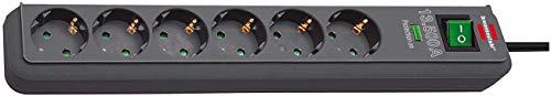 Brennenstuhl Eco-Line, Steckdosenleiste 6-fach mit Überspannungsschutz (Steckerleiste mit Kindersicherung, Schalter und 1,5m Kabel) anthrazit