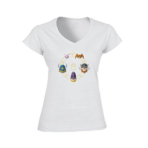 Digimon Agumon Greymon Wargreymon Wargreymon Angel Damen V-Neck T-Shirt Weiß