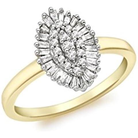 In oro giallo 9 kt, diamanti 0,25 kt Anello taglio Marquise, a grappolo