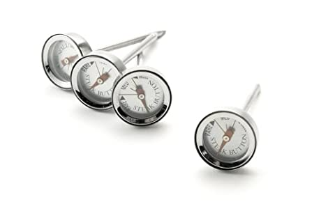 Charcoal Companion Set of 4 Reusable Steak Button Thermometers, Silver,