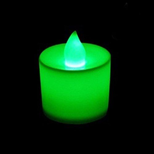 Romantische Mode Flameless Flackernde LED Tee Licht Batterie Kerzen Partei 5Pcs Grün (Lichter Grüne Tee Led)