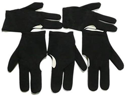 ANNIUP Snooker-Handschuhe 5 Schwarze Billardqueue-Handschuhe für Billard, Billard, Snooker, 3 Finger