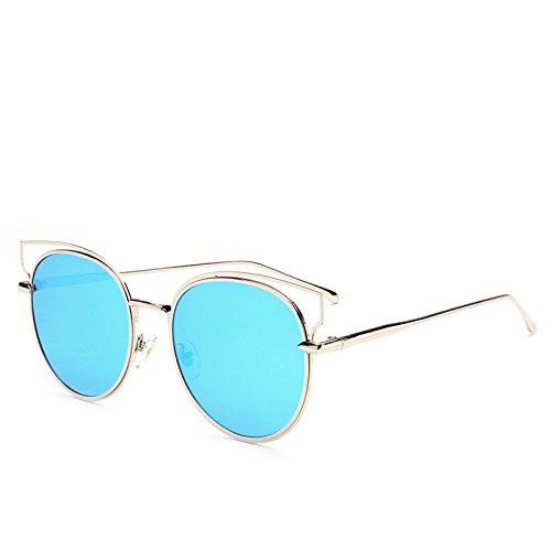 XXFFH Sonnenbrille Schatten Polarisierende Brille Metall-Weibliche Katzenauge Sonnenbrillen Helle Reflektierende Street-Sonnenbrille , 2 (Schwarz Und Weiß Weinlese Katzenaugen Brille)
