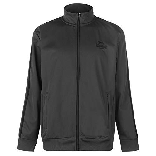 Lonsdale - Chaqueta deportiva casual con cierre de cremallera para hombre carbón y negro Large