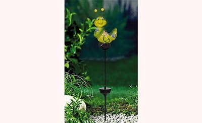 Gartenstecker Raupe mit LED-Solar-Beleuchtung, Keramik 10,5x6.5x65 cm NEU Gartendeko
