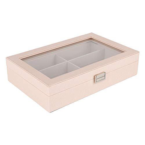 Betued Schmuck Aufbewahrungsbox, Aufbewahrungsbox für Uhr und Sonnenbrille, 6 Slots Schmuck Aufbewahrungsbox Sonnenbrille Organizer, Uhrengehäuse Container Box(Rosa)