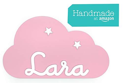 Placa decorativa infantil de madera en forma de nube personalizada con el...