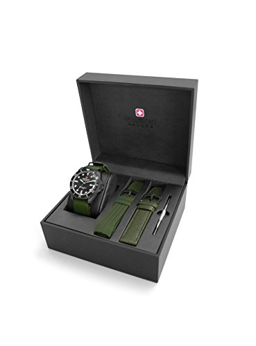 Swiss Military Hanowa Herren Analog Quarz Uhr mit Leder Armband 06-8279.13.007SET