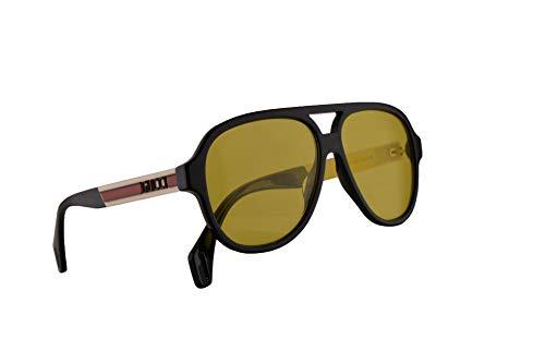 Gucci GG0463S Sonnenbrille Schwarz Weiß Mit Gelben Gläsern 58mm 001 GG0463/S 0463/S GG 0463S