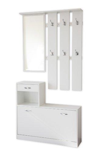 Garderoben-Set 3-teilig SIENA 100cm breit (weiss) mit nässebeständigen und kratzfesten Melaminbeschichtung