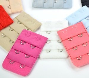 BOOLAVARD ® 12 pcs Assorted Colors Women 2-Hook 3 Rows Spacing Bra Extender Strap by Boolavard® TM.
