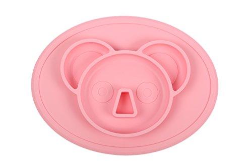 Kinder Silikon Tischset 4 Fächer für Babys, Kleinkinder, Kleinkinder und Kinder Suctions to table | Sichere ungiftige Lebensmittelqualität Silikon - BPA, PVC, Blei und Phthalat frei (Pink)
