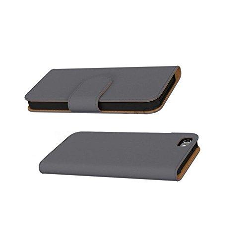 GiXa Technology Qualität Apple iPhone SE Schutztasche / Flipcase mit 2x Karten, 1x Geldscheine Fächer und Stand-Funktion, Silikon Halterung Case (für iPhone SE, Rosa) Anthrazit