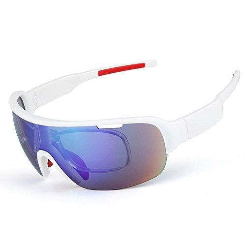 sue Radsport-Brillen Polarisiertes Licht Windschutz UV-Schutz Sport-Sonnenbrillen Herren Damen Modisch HD PC Multifunktional Halber Rahmen Ultraleicht Reitbrille Kommt mit 5 Wechselobjektiven, 3