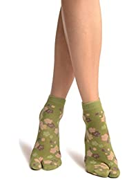 Sakura Flowers On Green Japanese Ankle High Socks - Socks - Verde Calcetines Talla unica (37-42)