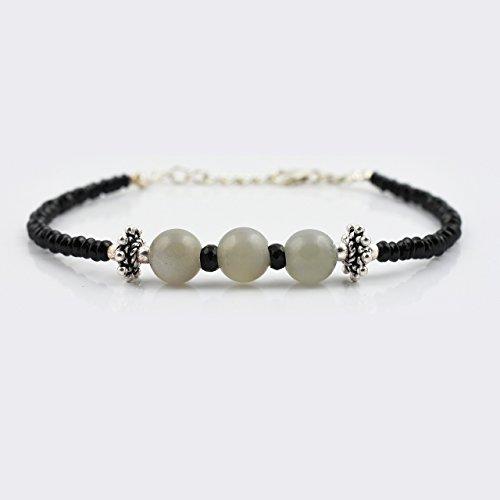 Gray Moonstone Black Spinell Perlen Armband mit Sterling Silber Erkenntnisse Edelstein Schmuck
