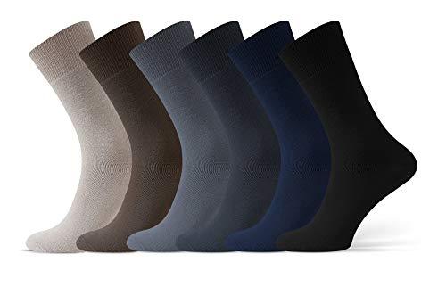 Sesto Senso® Calcetines Hombre Algodón 6 y 12 pares Paquete Múltiple Saludable Para Diabeticos Ajuste Relajado Sin Cintura Elástica Sin Presión (39-42, pack de 6 pares)