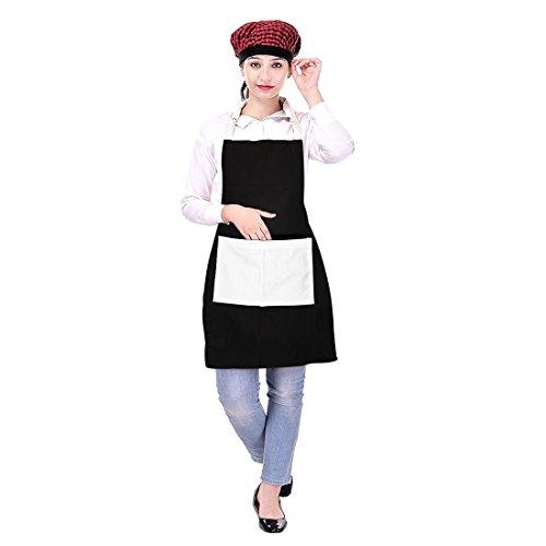 Icrafts – Tablier de cuisine unisexe avec poche, 100% pur coton, usage quotidien, lavable en machine, 75 x 80 cm