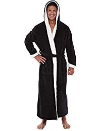 Rosatro Men's Winter Plush Nightgown Long Robe Lengthened Shawl Bathrobe Home Pajamas Clothes with Hoodie