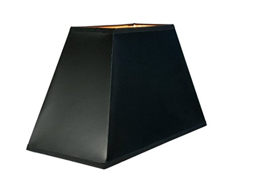 hochwertiger Lampenschirm rechteckig 40 cm Karton schwarz innen gold - Lampenschirm Rechteckige