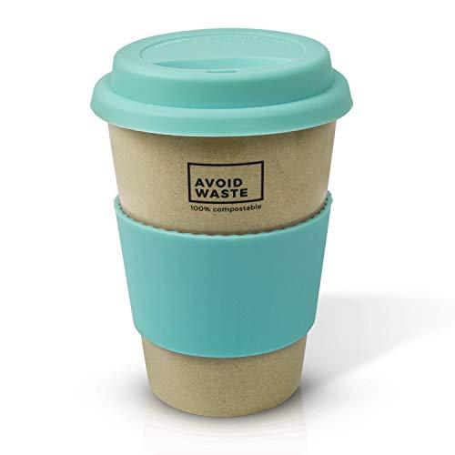 avoid waste - Nachhaltiger Kaffee-Becher to go aus Reishülsen. der Mehrweg-Becher ist Pflanzlich, biologisch abbaubar, BPA Frei, spülmaschinenfest und Umweltfreundlich (türkis) - 2