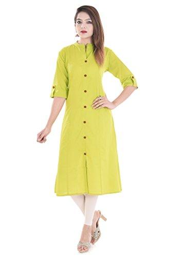 RAJMANDIRFABRICS Women's Cotton Front Button Solid Kurti