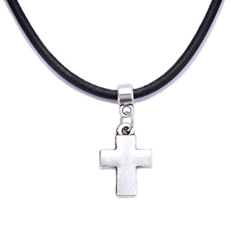Black Real Leather Cord Tibetan Silver Charm Choker Necklace Pendant Retro Hippy For Women Lady Girl 8zyNcplp