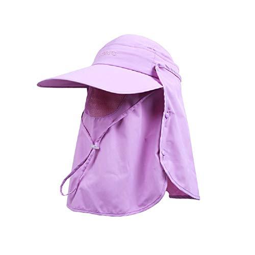 TSHOME Damen Multifunktionale Outdoor 360 ° UV-Schutz Sonnenhut Cap mit Nackenschutz & Face Flap Cover Faltbarer Anti-Moskito-Hut (Lila) -