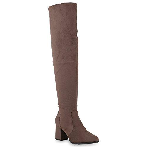 Damen Klassische Stiefel Overknees Wildleder-Optik Schuhe Gefüttert 147017 Khaki 37 Flandell