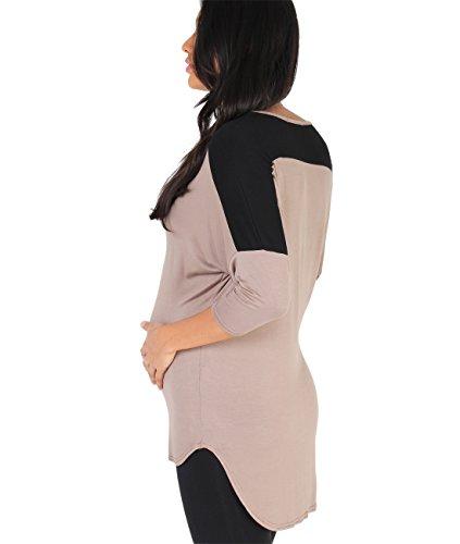 KRISP® Damen Umstandsmode Fledermaus Sweatshirt 3/4 Arm Mokka (7490)