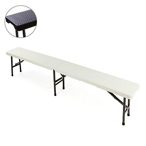 Partybank Klappbank 180 x 25 x 41 cm Bierbank bis 200 kg Gartenbank Garnitur robust stabil wetterfest Kunststoff für 4 Personen Farbe wählbar schwarz weiß (weiß)