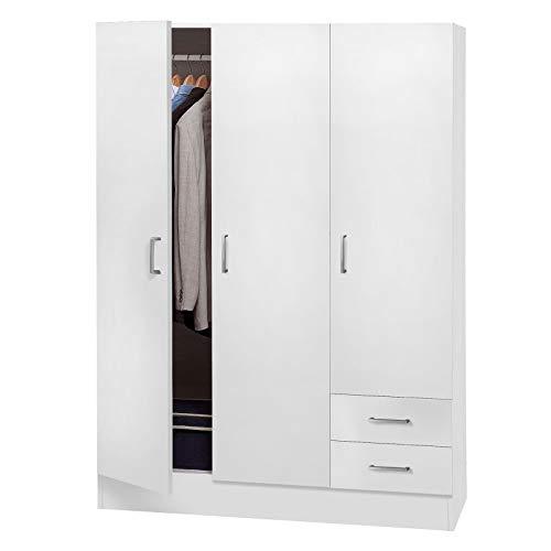 Avanti trendstore - balu 2,3 e 4, armadio ad ante a battente, disponibile in 2 diversi colori e 3 diverse larghezze (bianco, 3 ante)