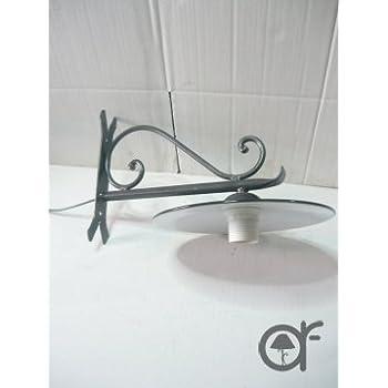 Lampada da parete esterno in ferro battuto con piatto