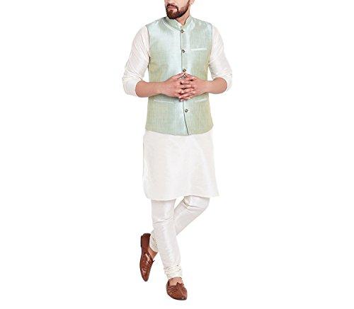 Royal Sojanya Men's Dupion Silk Nehru Jacket X-Large Light Green (Royal Jackets Green)