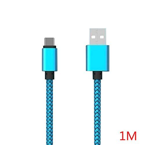 Busirde Multi-Color-1m / 2m / 3 Meter Quick Charge USB Typ C Kabel Handy-Schnelllade-Draht-Linie 2.4A USB-C Datenkabel Blau 1m