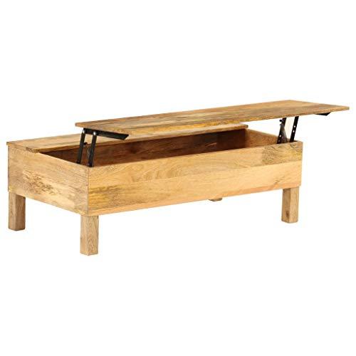 Festnight Table Basse Table de Canapé Table d'Appoint Bois de Manguier Massif Style Rétro 110 x 55 x 35 cm