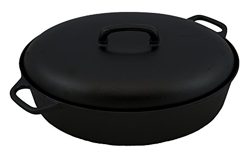 Gense Design Sigurd Persson Kasserolle Oval mit Deckel, Gusseisen, schwarz, 5Liter