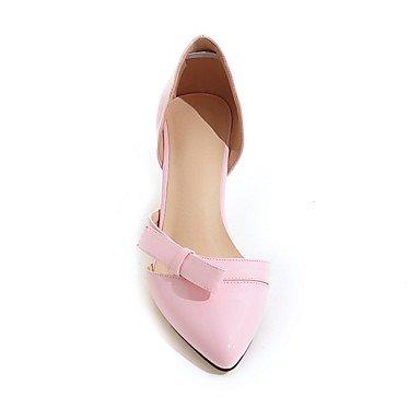 LYNXL Talloni delle donne Primavera Estate Autunno Dress Club similpelle ufficio & carriera Party & Sera tacco basso bowknot Nero Giallo Rosa Bianco Pink